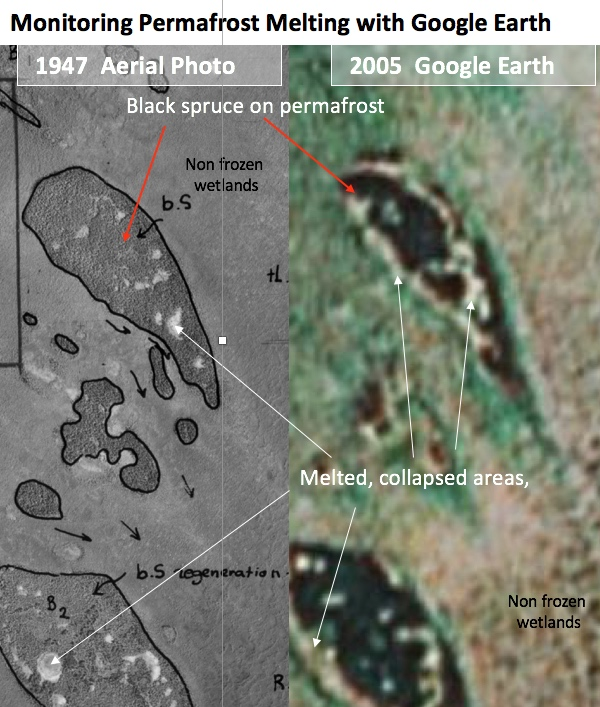 the left image shows permafrost in 1947, the right image fom google earth shows the area that has melted