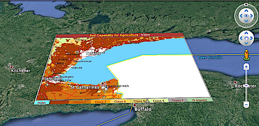 CLI high capability agriculture around Toronto overlay on Google Earth